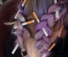grafika hair, cigarette, and purple