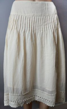 Monsoon 8 - 18 Cream Ivory Vintage Pleated Crochet Lace Asymmetrical Skirt