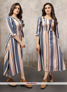 Get here the latest and exclusive collection of kurti. Buy online fabulous multi colour party wear kurti for festival. Simple Kurti Designs, New Kurti Designs, Kurta Designs Women, Kurti Designs Party Wear, Printed Kurti Designs, Stylish Kurtis Design, Stylish Dress Designs, Sleeves Designs For Dresses, Dress Neck Designs