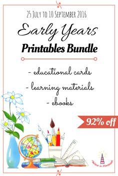 Early Years Printables bundle is full of learning materials, educational cards…