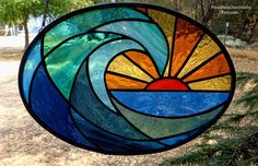 Stained Glass Suncatcher Ocean Wave at Dawn Oval Shaped