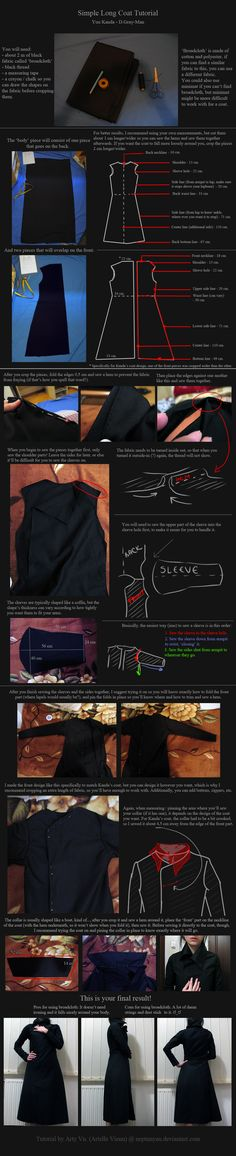 Simple Coat Tutorial: Yuu Kanda - D.Gray-Man. by neptunyan.deviantart.com on @DeviantArt