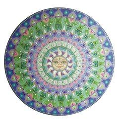 purple-green-silver sun face mandala <3