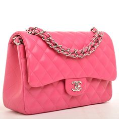 Chanel Fuchsia Pink Quilted Lambskin Jumbo Classic 2.55 Flap Bag | From a collection of rare vintage handbags and purses at https://www.1stdibs.com/fashion/accessories/handbags-purses/
