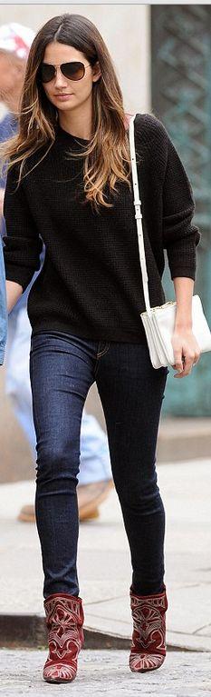 Lily Aldridge: Purse – celine; Shoes – Isabel Marant
