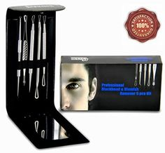 Professional Blackhead and Blemish Remover Kit. 5pcs Blackheads Extractor, Comedone Extractors Blemish Tools Blackhead Remover and Case with Mirror.