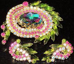 JULIANA Gorgeous Fuchsia Pink, Green & Watermelon Rhinestone Pin Earring Set