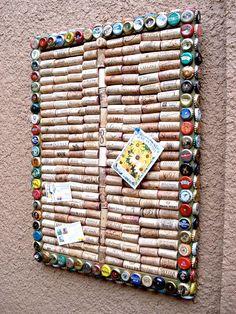 Wine cork & beer cap message board