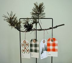 Holiday Cabin Gift Tags  #illustration