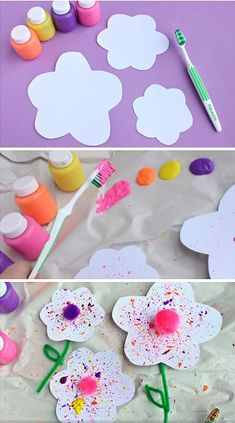 A Few of Our Favorite Paper Crafts! Tooth Brush Splatter Paint Craft The post A Few of Our Favorite Paper Crafts! appeared first on Knutselen ideeën. Toddler Crafts, Preschool Crafts, Crafts For Kids, Arts And Crafts, Spring Activities, Activities For Kids, Diy Paper, Paper Crafting, Valentine Crafts