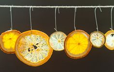 Homemade Citrus Ornaments -- Clementines, lemons, and tangerines!    These make a terrific food-themed gift, but make a batch for your own tree, too!  Just slice, bake at 200 F until dry, flipping every 30 min.
