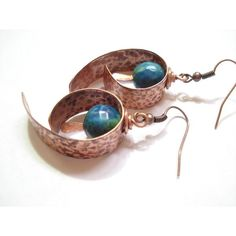 Hammered Copper Blue Green Agate Hoop Earrings Modern Unique Hoops... ($22) ❤ liked on Polyvore featuring jewelry and earrings