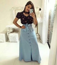 Cute Midi Skirt Outfits Perfect For Any Summer Occasion Modest Dresses, Modest Outfits, Modest Fashion, Fashion Dresses, Latest Fashion Design, Trend Fashion, Look Fashion, Midi Skirt Outfit Casual, Long Skirt Outfits