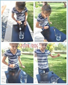 Spoon Frog Challenge - Minute to Win it - Another party idea~ this tween challenge looks like something fun to do with my 11 year olds this summer! School Age Activities, Fun Activities For Kids, Fun Games, Games For Kids, Party Games, Games To Play, Group Games, Family Games, Minute To Win It Games