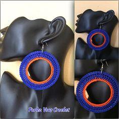 Crochet Earrings in Blue and Orange by ParlezVCrochet on Etsy