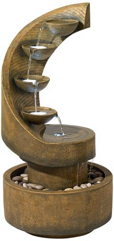 """Modern Curved Cascading Zen 39 1/2""""H Fountain with LED Light - #R5942 