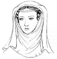 The wimple was worn by married women from 1200-1400. It is a piece of fabric that is worn over the ears, hair, and around the chin. Depending on wealth, the fabric could be simple or grand. Some women had their wimple custom made with seams and pleats so it was easier to put on. The wimple is still worn by some nuns in traditionalist churches…