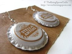 Upcycled Bottle Cap Earrings with Flattened Edges, Stella Artois, White  #upcycle #recycle #handmade #jewelry #earrings #beer #bottlecaps #etsy #jewelry