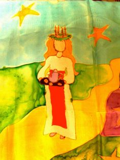Happy Santa Lucia Day! Silk painting by Carlene Mogavero- Kindergarten teacher.