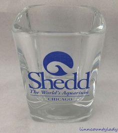 Shedd Square Shot Glass Toothpick Holder Worlds Aquarium Chicago Advertising FS