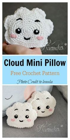 cute Crochet 58265388916023799 - Cute Cloud Mini Pillow Free Crochet Pattern Source by reffard Beau Crochet, Crochet Diy, Crochet Pillow, Crochet Home, Crochet Gifts, Crochet Headbands, Crochet Ideas, Crochet Mignon, Crochet Cushions