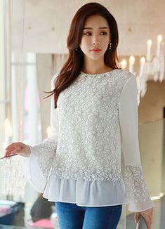 [Luis Angel] Chiffon frill lace blouse tee, style sumimi