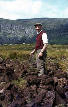 Turf man on the Comeragh Mountains.  Peat bog.