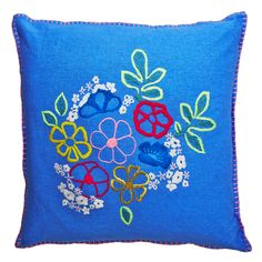 Large Vibrant Blue Cotton Cushion Cover with Hand Embroidered Flowers 60cm from www.indigobluetrading.com