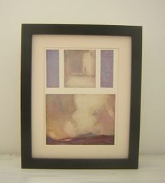 Watercolour exploration print. 1956 Cream mount Black thick frame which can either be hung onto a wall or placed on a flat surface. There is a stand at the back of the frame. Approx 11 x 9 inches ( 29cm x 24cm