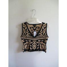 Vintage Black Tan Abstract Print Bandage Crop Pullover Knit Modern Sweater Vest Tank Top Sz Large