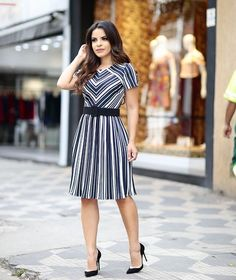 Image may contain: 1 person, standing, stripes and outdoor Modest Fashion, Fashion Outfits, Womens Fashion, Priyanka Chopra Saree, Fashion Vocabulary, Dress Patterns, Striped Dress, Spring Summer Fashion, Blouse Designs