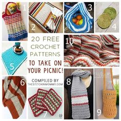 There is no better way to spend a nice summer day than to go on a picnic! Here is a list of 20 free crochet patterns that are perfect for your picnic party! Crochet Round, Love Crochet, Knit Crochet, Crochet Kitchen, Crochet Home, Crochet Dishcloths, Crochet Projects, Crochet Patterns, Free Pattern