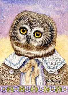 Henry the Northern Sawwhet Owl Giclee Fine Art Print by ruffings, $22.00