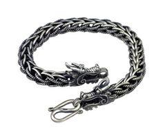 Men S Antiqued Finish Sterling Silver Dragon Bracelet