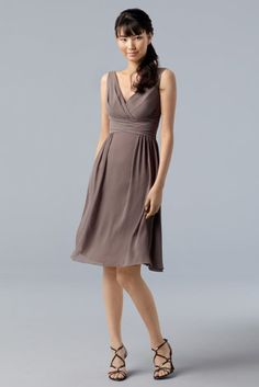 WTOO 784 Crinkle Chiffon surplice v neck knee length dress with frint drape and shirred skirt Fabric Crinkle Chiffon  #timelesstreasure