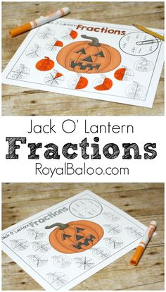 Free printable Jack O Lantern Fractions! Practice beginning fractions and more advanced fractions with this fun and simple dot marker fraction printable! Halloween Math, Halloween Activities, Halloween Themes, Fraction Activities, Math Activities For Kids, Math Games, Math Fractions, Dividing Fractions, Ks1 Maths