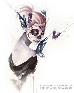 Day of the Dead Sugar Skull Girl Artwork❤️vanuska❤️
