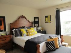 lovely room decor, yellow, white, grey, blk