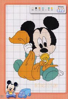 Gallery.ru / Фото #6 - Disney Speciale - Cipollina Baby Cross Stitch Patterns, Cross Stitch Baby, Cross Stitch Charts, Mickey Mouse Characters, Minnie Baby, Disney Stitch, Native American Beading, Cross Stitching, Embroidery