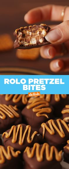 """Good luck """"just having one"""" of these Rolo Pretzel Bites. Get the recipe at Delish.com."""
