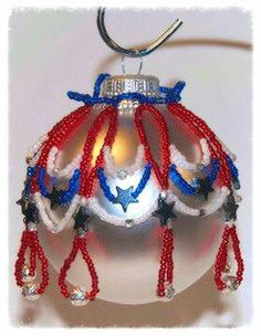 Instant PDF Download Tutorial: Patriotic Beaded Christmas Ornament Cover at Bead-Patterns.com