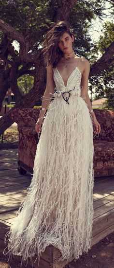 two piece dress, Mix and Match silver tone beaded top, spaghetti straps, white lining bodysuit, open back with illusion net on sides and underarm open plunge with illusion net on middle rich and light straight cut feathers skirt, powder tone mermaid cut lining wedding gown #wedding #wedding #weddingdress #weddinggown