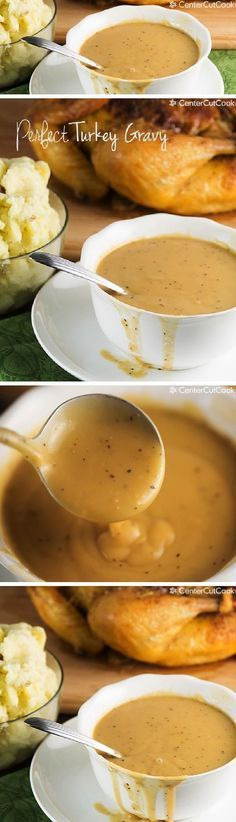 PERFECT TURKEY GRAVY Recipe with instructions to make it with or without drippings. All you need is butter, flour, black pepper, chicken or turkey stock and/or drippings! Perfect for Thanksgiving!