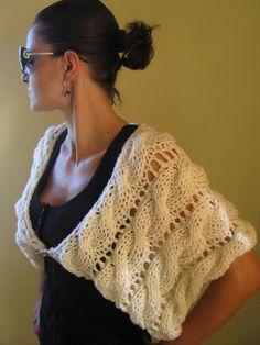 Items similar to Fashion White Ivory Shrug Bolero on Etsy Crochet Needles, Knit Crochet, Knitting Patterns, Crochet Patterns, Knit Shrug, How To Purl Knit, Arm Knitting, Clothing Hacks, Knit Fashion