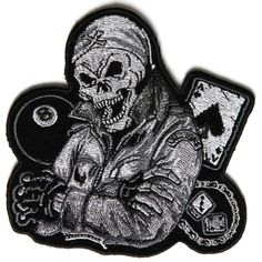 Embroidered Biker Guy Skull 8 Ball Ace Dice in Grey Iron on Patch Biker Patch Biker Patches, Sew On Patches, Iron On Patches, Skull Patches, Iron On Embroidery, Embroidery Applique, Bag Badges, Embroidery Services, Iron On Embroidered Patches