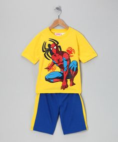 Take a look at this Yellow Spiderman Tee & Shorts - Boys by Blow-Out on #zulily today!