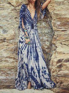 Blue Plunge Neck 3/4 Sleeve Slit Maxi Dress