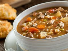 Slow cooker beef and barley soup recipe. Beef stew meat with barley and vegetables cooked in a slow cooker. Slow Cooker Beef, Slow Cooker Recipes, Cooking Recipes, Healthy Recipes, Healthy Foods, Stew Meat Recipes, Vegetable Soup Recipes, Hulled Barley, Beef Barley Soup