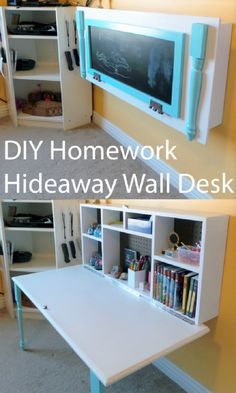 30 DIY Organizing Ideas for Kids Rooms, from wardrobe, toys, art supplies organization to DIY curtain rod shelves and homework hideaway wall desk
