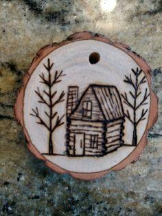 Rustic Cabin wood burning Christmas  ornament - natural wood
